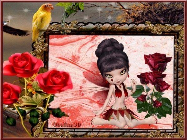 Défi Cadre rouge la rose